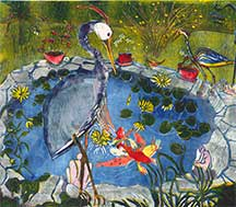 Anne Zahn, Artist, The Garden Journal XVI, The Great Blue Heron's Garden, artline