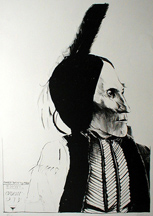 artline, art, artist, Leonard Baskin at Leonard Baskin<br /> <em>Chief White Man Kiowa</em>, 1974<br /> lithograph, edition 100<br /> 34 1/4 x 23 3/4&quot;