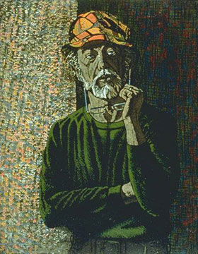 Billy Jackson at Billy Morrow Jackson<br /> <em>At Sixty-four</em>, 1990<br /> Reduction woodcut, edition 14<br /> 10 x 8&quot;