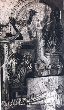 Billy Jackson at Billy Morrow Jackson<br /> <em>Solo</em>, 1954<br /> engraving, aquatint, softground etching on zinc, edition 25<br /> 20 5/8 x 11 3/4&quot;