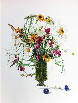 Billy Jackson at Billy Morrow Jackson<br /> <em>Vinyard Bouquet (a.k.a. Mostly Daisies)</em>, 1961<br /> watercolor<br /> 28 1/2 x 22&quot;
