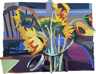 Elizabeth Peak, Artist, Vase with Flowers, artline