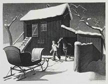 artline, art, artist, Grant Wood at Grant Wood<br /> <em>December Afternoon</em>, 1940<br /> lithograph, edition 250, 8 15/16 x 11 3/4&quot;