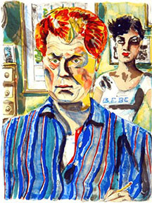 artline, art, artist, Red Grooms at Red Grooms<br /> <em>Self Portrait</em>, 1982<br /> color lithograph, ed. 44<br />16 x 12 1/2&quot;