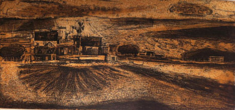 Billy Jackson at Billy Morrow Jackson<br /> <em>Prarie Gold</em>, 1960<br /> color etching, ed. 40<br /> 8 5/8 x 18 1/2&quot;