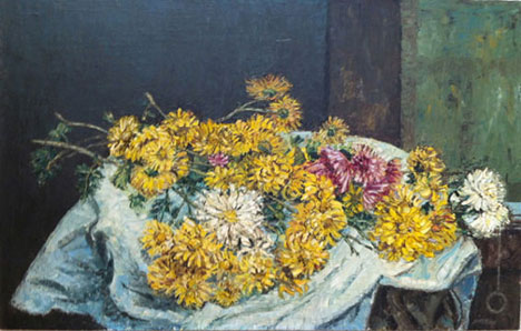 Billy Jackson at Billy Morrow Jackson<br /> <em>Flowers on Table</em>, 1949<br /> oil on masonite<br /> 18 x 28 1/4&quot;