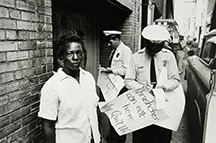 artline, art, artist, Robert Adelman at Robert Adelman<br /> <em>Demonstrator arrested behind Loveman's department store</em>, 1963<br /> gelatin silver print<br /> 6 1/4 x 9 1/12&quot;