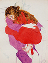 artline, art, artist, Sigmund Abeles at Sigmund Abeles<br /> <em>Mirielle with Manikin Both Robed</em>, 2000<br /> <em>Innocent Red Series</em><br />pastel and watercolor<br />40 x 30&quot;