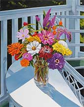 William C. Wright, Artist, Zinnias on the Porch, artline